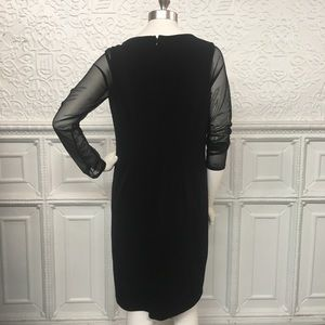 Chico's Dresses - NWT Chicos SZ 1 Black Dress w/Sheer Long Sleeves